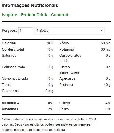 Zero Carb Isopure Drink 591ml - Coconut - Nature's Best