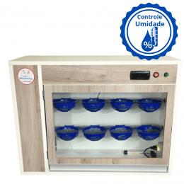 Chocadeira de Pássaros ALTA ECLOSÃO com controle de umidade, Bivolt, Automática com 8 nichos e 3 ventiladores (GC PASSÁRO U)