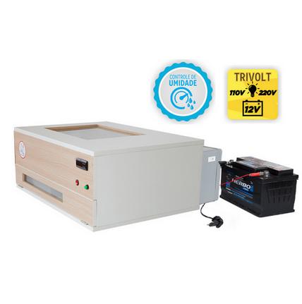 Chocadeira ALTA ECLOSÃO 120 ovos BOX Trivolt com carregador e  Controle de Umidade  (GCB120TCU)