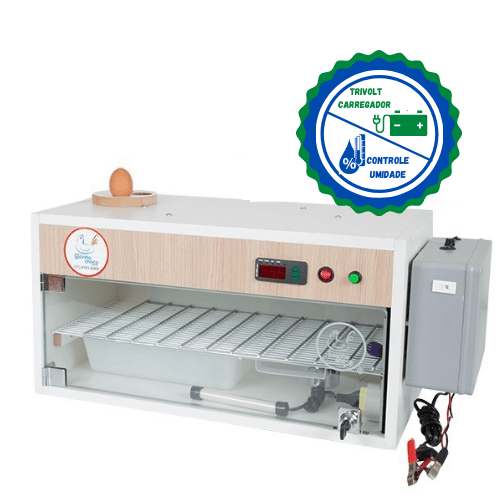 Chocadeira ALTA ECLOSÃO Automática 60 ovos Trivolt com Carregador e 2 ventiladores controle de Umidade (60TCU)