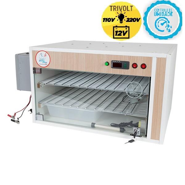 Chocadeira ALTA ECLOSÃO Automática 220 ovos 7 ventiladores Trivolt com carregador e Controle de Umidade (GC220TCU)