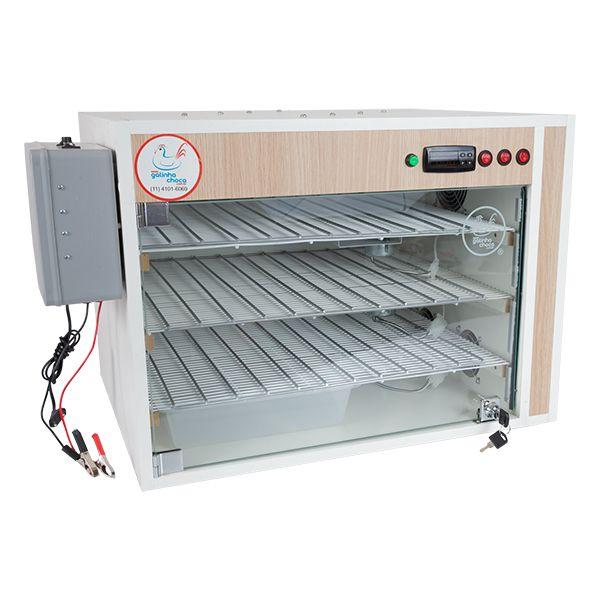 Chocadeira ALTA ECLOSÃO Automática 330 ovos Trivolt com carregador embutido e 7 ventiladores (GC330TC)