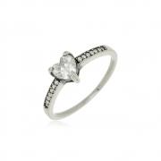 Anel Coração Cristal Luiza Em Prata 925