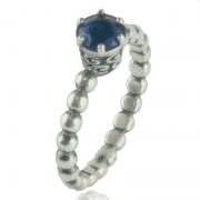 Anel Pedra Azul Em Prata 925