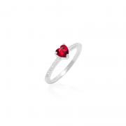 Anel Solitário Coração Vermelho Em Prata 925