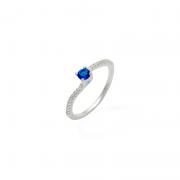 Anel Solitário Pedra Azul Royal Prata 925