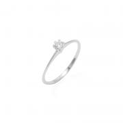 Anel Solitário Pedra Pequena Prata 925