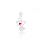 Berloque Anjo Com Detalhe Vermelho Em Prata 925