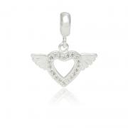 Berloque Coração Alado Com Zircônias Em Prata 925