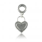 Berloque Coração Mom Em Prata 925