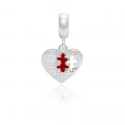 Berloque Coração Quebra Cabeça Em Prata 925