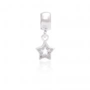 Berloque Estrela Vazada Com Zircônias Em Prata 925