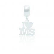 Berloque I Love MS Desenhado a Laser Em Prata 925