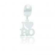Berloque I Love Rondônia Desenhado a Laser Em Prata 925