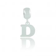Berloque Letra D Em Prata 925