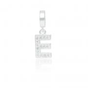 Berloque Letra E Com Zircônias Em Prata 925