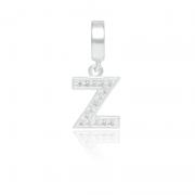 Berloque Letra Z Com Zircônias Em Prata 925