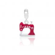 Berloque Máquina de Costura Vermelha Em Prata 925
