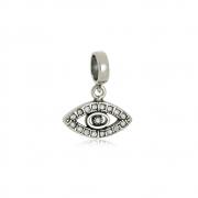 Berloque Olho Grego com Zircônias  Em Prata 925
