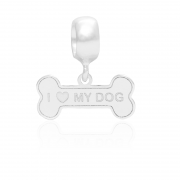 Berloque Ossinho I Love My Dog Em Prata 925