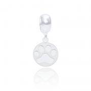 Berloque Patinha De Cachorro Desenhado A Laser Em Prata 925