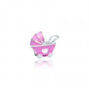Berloque Separador Carrinho de Bebê Rosa Em Prata 925