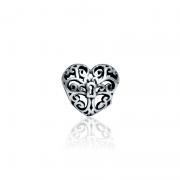Berloque Separador Coração Cadeado Em Prata 925
