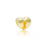 Berloque Separador Coração Com Fechadura Dourado