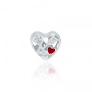 Berloque Separador Coração Com Flecha Em Prata 925