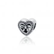 Berloque Separador Coração Laço Em Prata 925