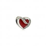 Berloque Separador Coração Vermelho Com Zircônias  Em Prata 925