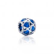 Berloque Separador Corações Azul Em Prata 925