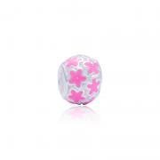 Berloque Separador Flores Pink Em Prata 925