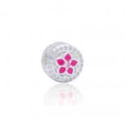 Berloque Separador Flores Rosa Em Prata 925