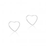 Brinco Argola Coração 2,5cm Em Prata 925