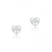 Brinco Árvore Coração 5mm Em Prata 925