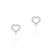 Brinco Coração Terço II 1cm Em Prata 925