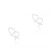 Brinco Coração Vazado Duplo 2cm Em Prata 925