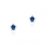 Brinco Coroa Com Pedra Azul Royal II 1,1cm Em Prata 925