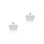 Brinco Coroa Com Zircônias Branca Em Prata 925