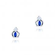 Brinco Coroa Mini Com Pedra Azul Royal Em Prata 925