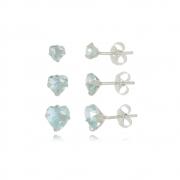 Brinco de Coraçoes  Kit 3 Azul Cristal  Em Prata 925