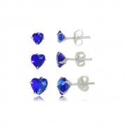 Brinco de Coraçoes  Kit 3 Azul Royal Em Prata 925