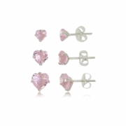 Brinco de Coraçoes  Kit 3 Rosa Cristal Em Prata 925