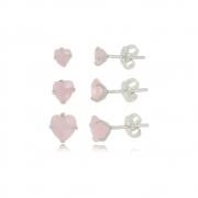 Brinco de Corações  Kit 3 Rosa Fosco Em Prata 925