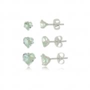 Brinco de Coraçoes  Kit 3 Verde Cristal  Em Prata 925