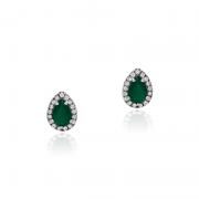 Brinco Gota Verde Em Prata 925