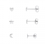 Brinco Kit Lua Estrela Coração Em Prata 925