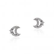 Brinco Lua Vazada Com Zircônias Em Prata 925