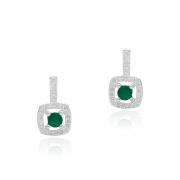 Brinco Pedra Quadrada Verde Com Zircônia Em Prata 925